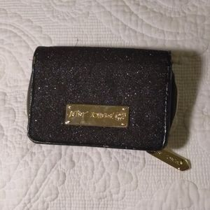 Betsey Johnson glitter and bow wallet